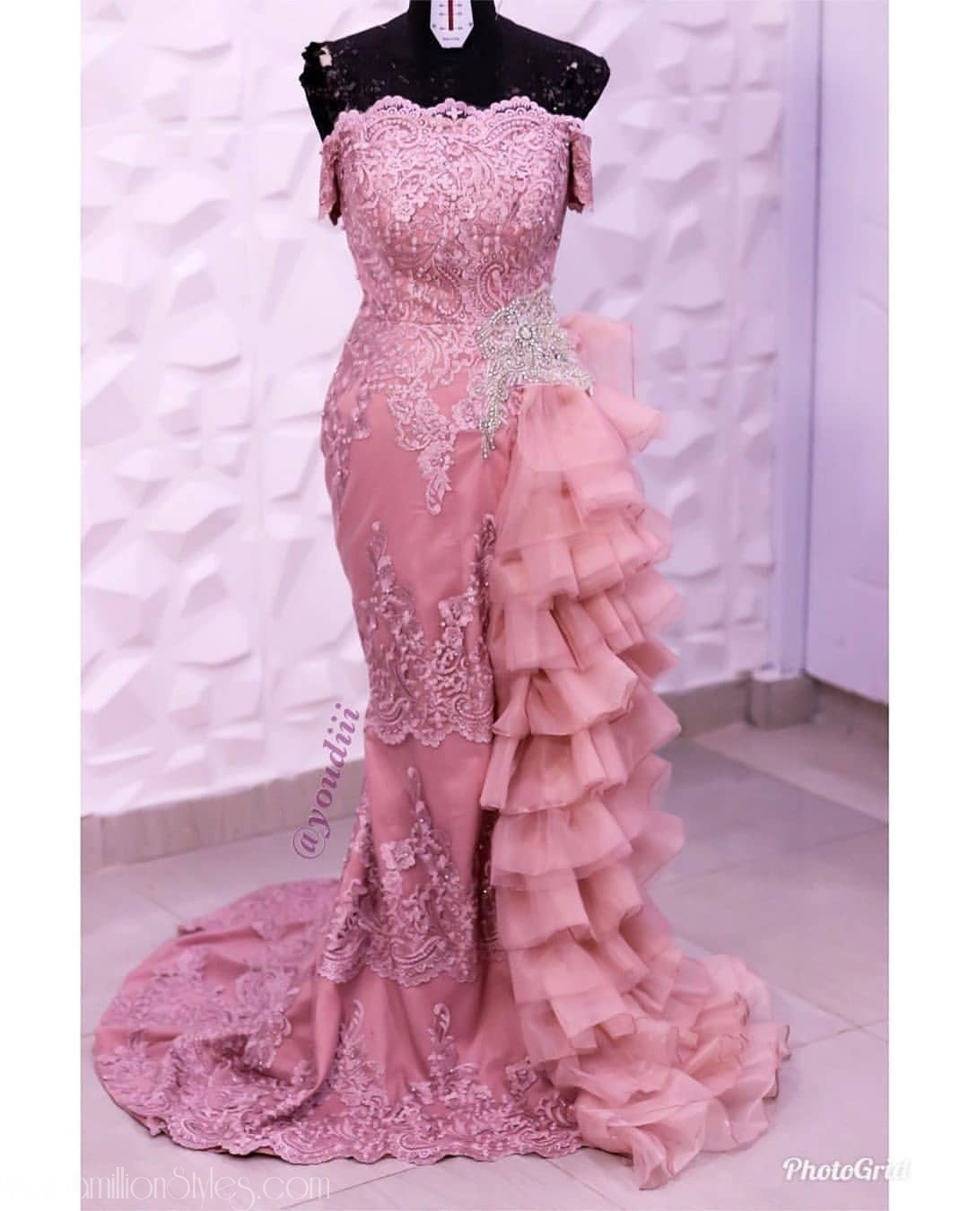 2020 Asoebi Trends: Asoebi Styles With Side Ruffles